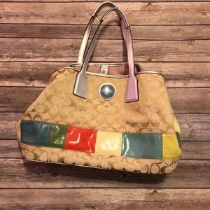 Coach signature multi colored shoulder bag/handbag
